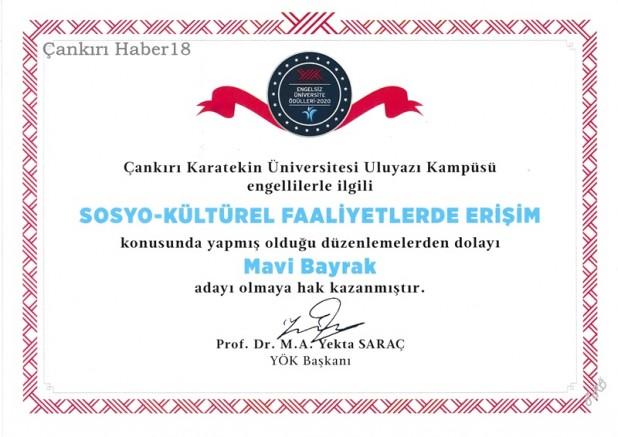 Engelsiz Üniversite Ödülleri ÇAKÜ'ye - Çankırı Hasan Ayrancı Haber18 - attorney at law ,boat yacht  wealth luxury