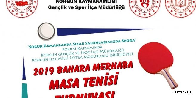 Korgun'da Masa Tenisi Turnuvası Düzenlenecek Korgun haber18 çankırı