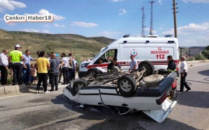 Çankırı - Otomobil Takla Attı.Emniyet Kemeri Hayatını Kurtardı - Genel Haberler haber18 haberleri