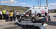 Çankırı - haber18 - Otomobil Takla Attı.Emniyet Kemeri Hayatını Kurtardı - Genel Haber